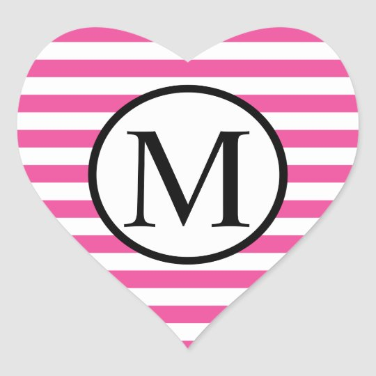 Simple Monogram with Pink Horizontal Stripes Heart Sticker