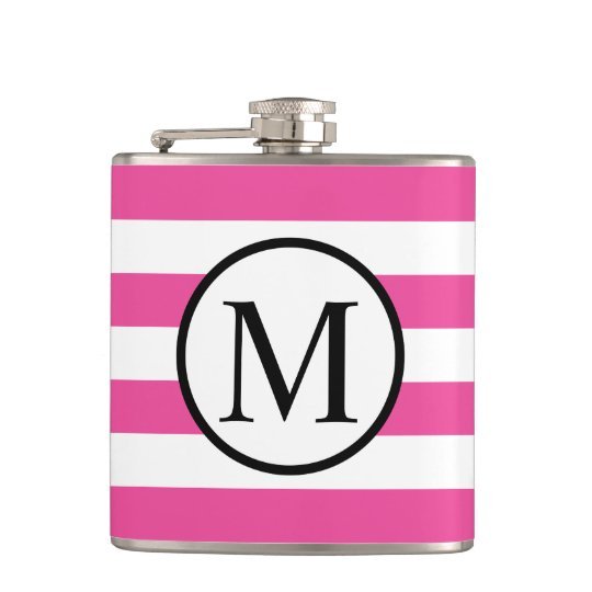 Simple Monogram with Pink Horizontal Stripes Hip Flask