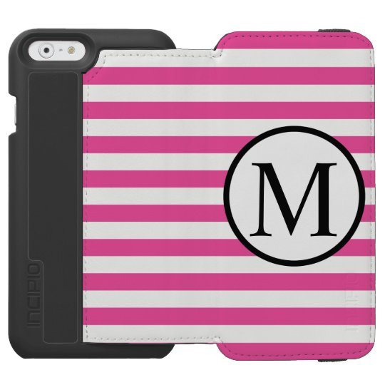 Simple Monogram with Pink Horizontal Stripes Incipio Watson™ iPhone 6 Wallet Case
