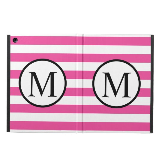 Simple Monogram with Pink Horizontal Stripes iPad Air Case