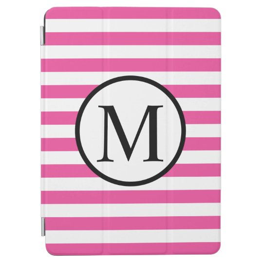 Simple Monogram with Pink Horizontal Stripes iPad Air Cover