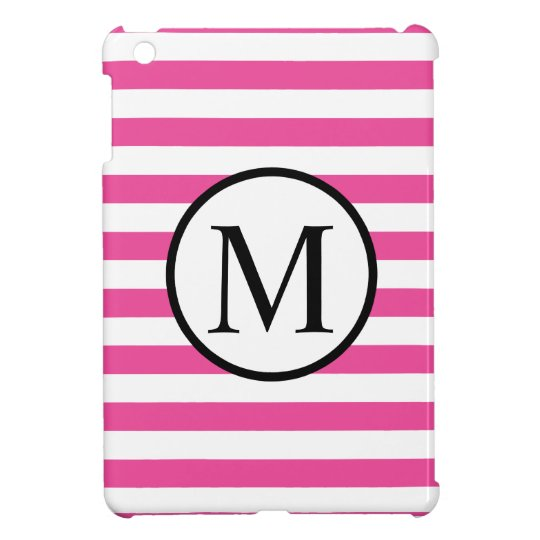 Simple Monogram with Pink Horizontal Stripes iPad Mini Case