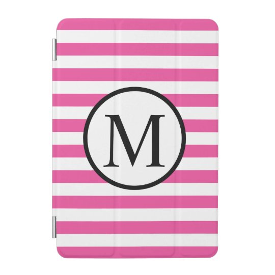 Simple Monogram with Pink Horizontal Stripes iPad Mini Cover