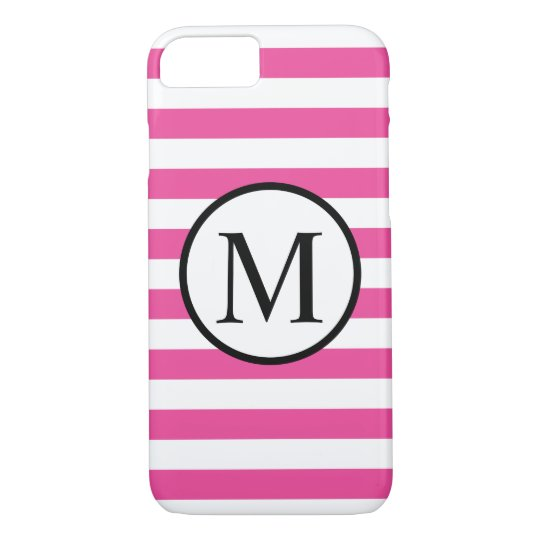 Simple Monogram with Pink Horizontal Stripes iPhone 7 Case