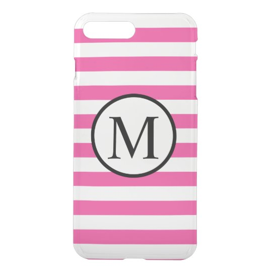 Simple Monogram with Pink Horizontal Stripes iPhone 7 Plus Case