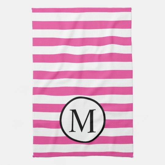 Simple Monogram with Pink Horizontal Stripes Kitchen Towel
