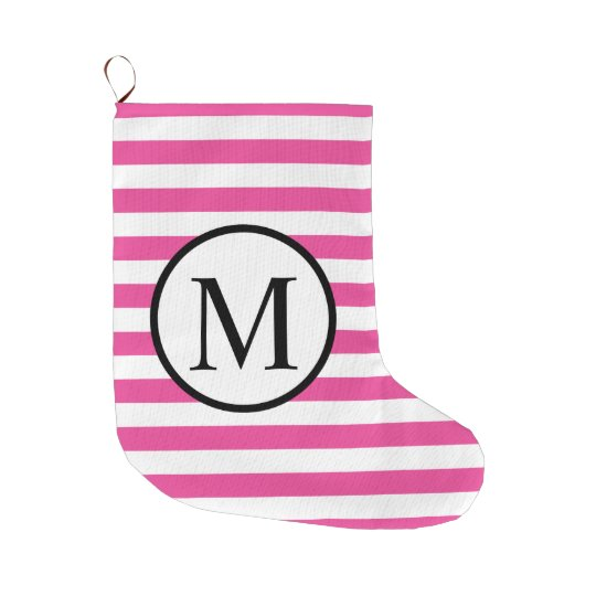 Simple Monogram with Pink Horizontal Stripes Large Christmas Stocking
