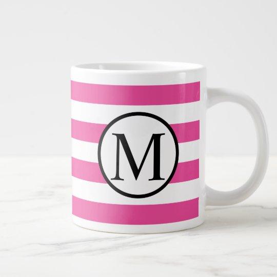 Simple Monogram with Pink Horizontal Stripes Large Coffee Mug