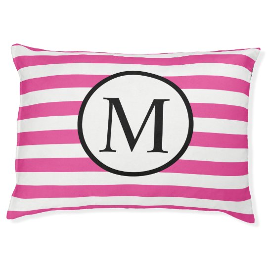 Simple Monogram with Pink Horizontal Stripes Large Dog Bed