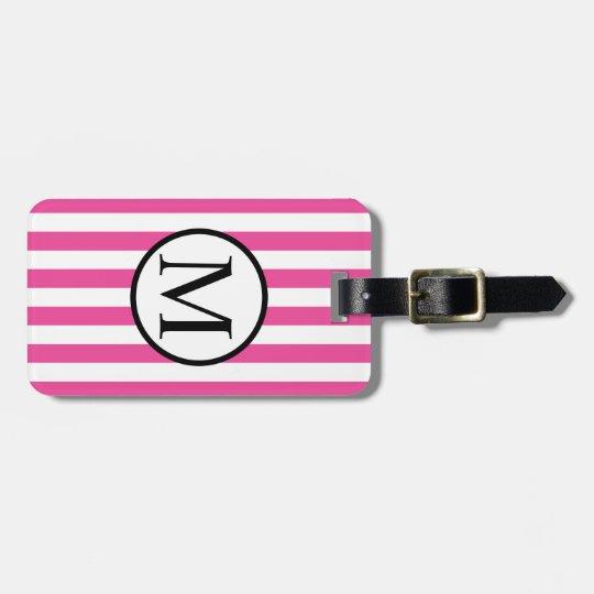 Simple Monogram with Pink Horizontal Stripes Luggage Tag