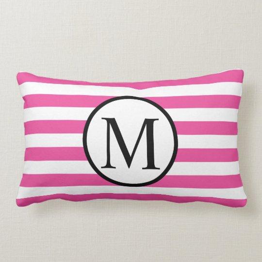 Simple Monogram with Pink Horizontal Stripes Lumbar Pillow