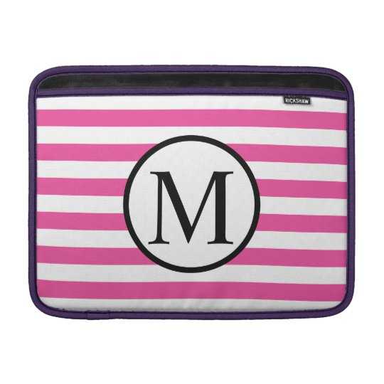 Simple Monogram with Pink Horizontal Stripes MacBook Sleeves