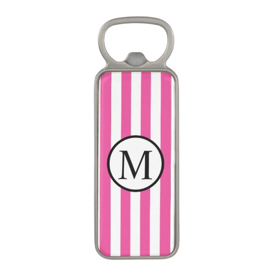 Simple Monogram with Pink Horizontal Stripes Magnetic Bottle Opener