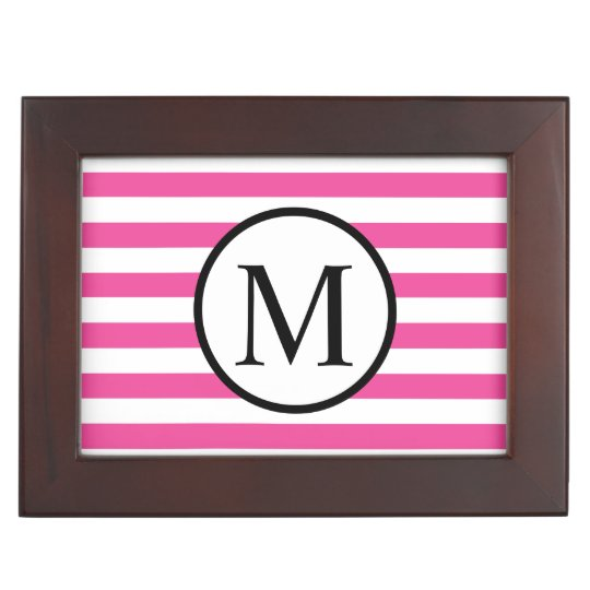 Simple Monogram with Pink Horizontal Stripes Memory Box