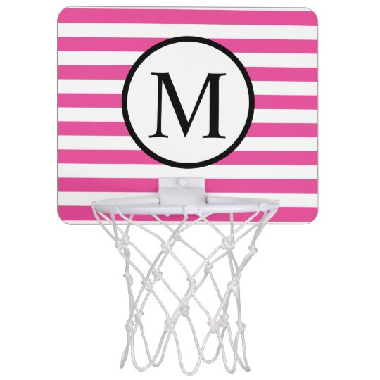 Simple Monogram with Pink Horizontal Stripes Mini Basketball Hoop