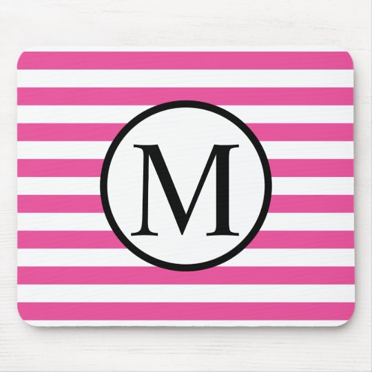 Simple Monogram with Pink Horizontal Stripes Mouse Pad