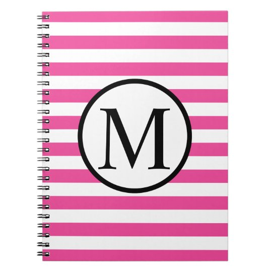 Simple Monogram with Pink Horizontal Stripes Note Book
