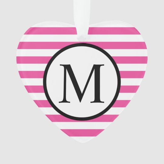 Simple Monogram with Pink Horizontal Stripes Ornament