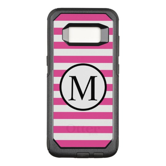 Simple Monogram with Pink Horizontal Stripes OtterBox Commuter Samsung Galaxy S8 Case