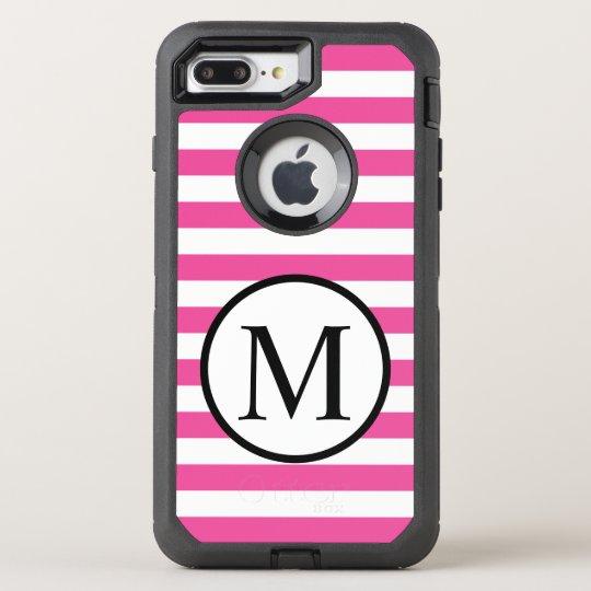Simple Monogram with Pink Horizontal Stripes OtterBox Defender iPhone 7 Plus Case