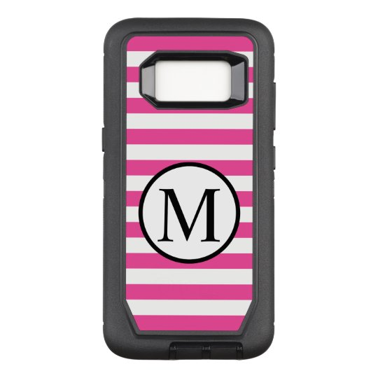 Simple Monogram with Pink Horizontal Stripes OtterBox Defender Samsung Galaxy S8 Case
