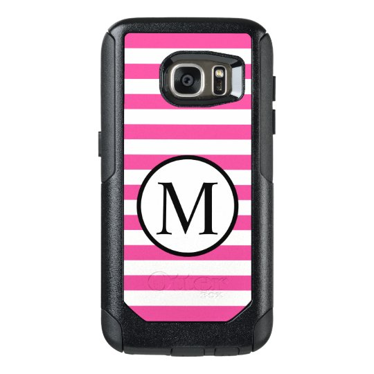 Simple Monogram with Pink Horizontal Stripes OtterBox Samsung Galaxy S7 Case