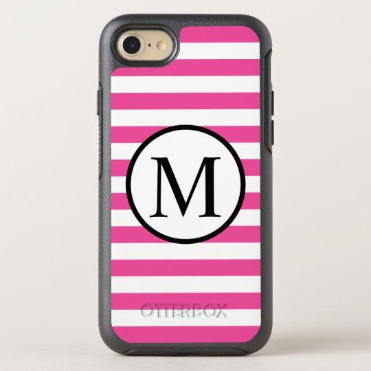 Simple Monogram with Pink Horizontal Stripes OtterBox Symmetry iPhone 7 Case