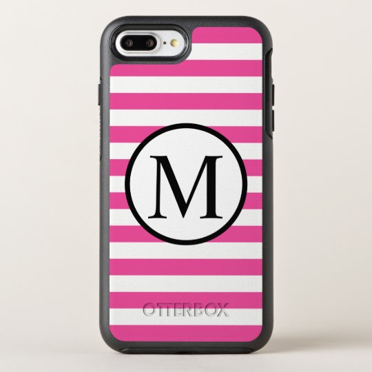 Simple Monogram with Pink Horizontal Stripes OtterBox Symmetry iPhone 7 Plus Case