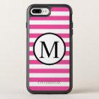 Simple Monogram with Pink Horizontal Stripes OtterBox Symmetry iPhone 8 Plus/7 Plus Case