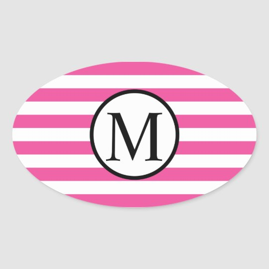 Simple Monogram with Pink Horizontal Stripes Oval Sticker