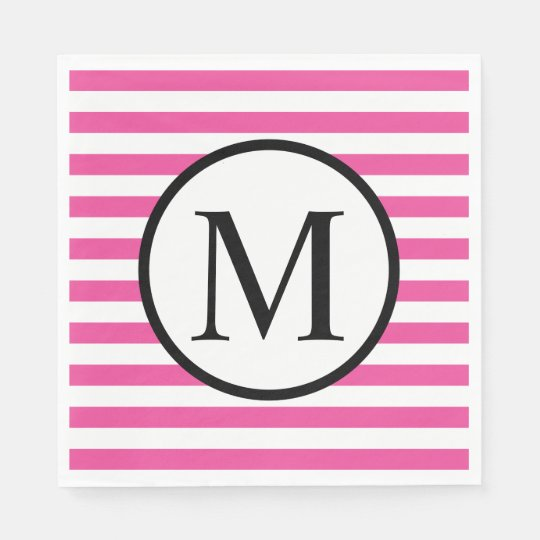 Simple Monogram with Pink Horizontal Stripes Paper Napkin