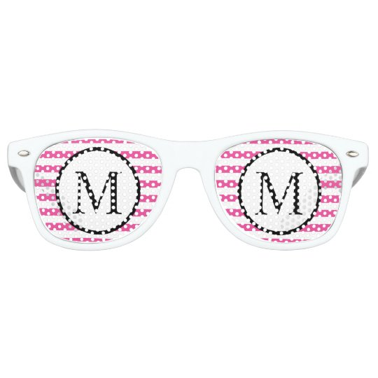 Simple Monogram with Pink Horizontal Stripes Party Sunglasses