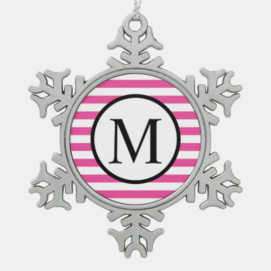 Simple Monogram with Pink Horizontal Stripes Pewter Snowflake Ornament