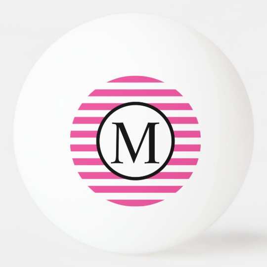 Simple Monogram with Pink Horizontal Stripes Ping Pong Ball