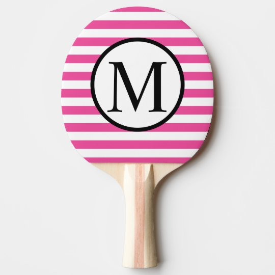Simple Monogram with Pink Horizontal Stripes Ping-Pong Paddle