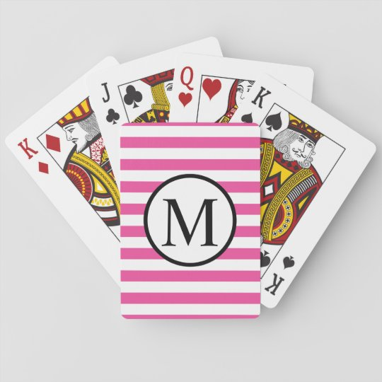 Simple Monogram with Pink Horizontal Stripes Playing Cards