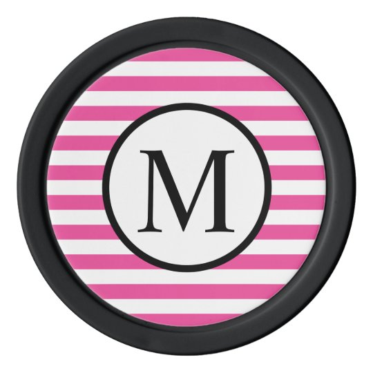 Simple Monogram with Pink Horizontal Stripes Poker Chips