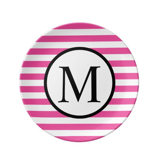 Simple Monogram with Pink Horizontal Stripes Porcelain Plate