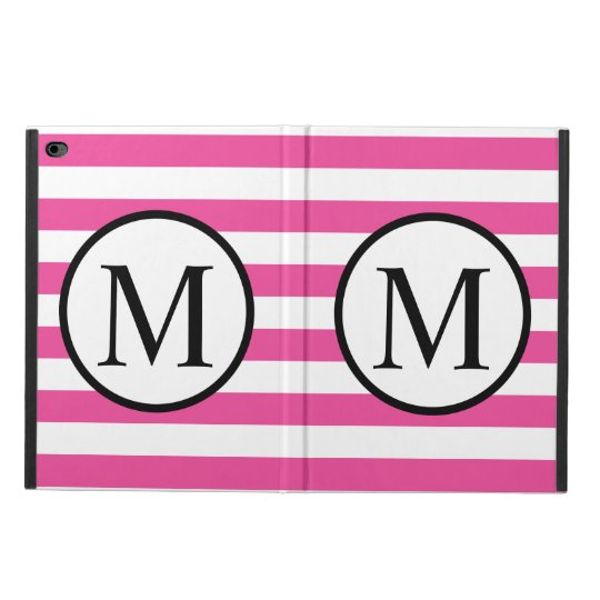 Simple Monogram with Pink Horizontal Stripes Powis iPad Air 2 Case