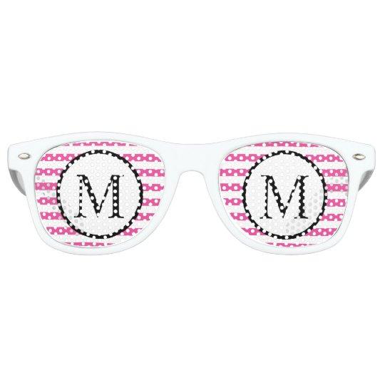 Simple Monogram with Pink Horizontal Stripes Retro Sunglasses