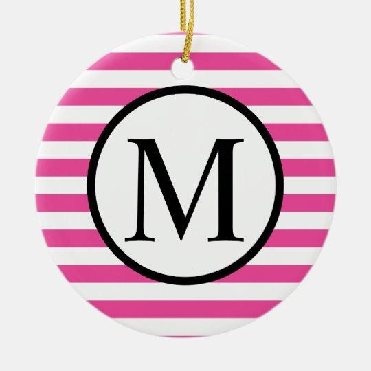 Simple Monogram with Pink Horizontal Stripes Round Ceramic Ornament