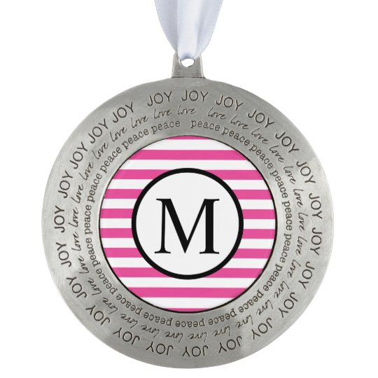 Simple Monogram with Pink Horizontal Stripes Round Pewter Ornament