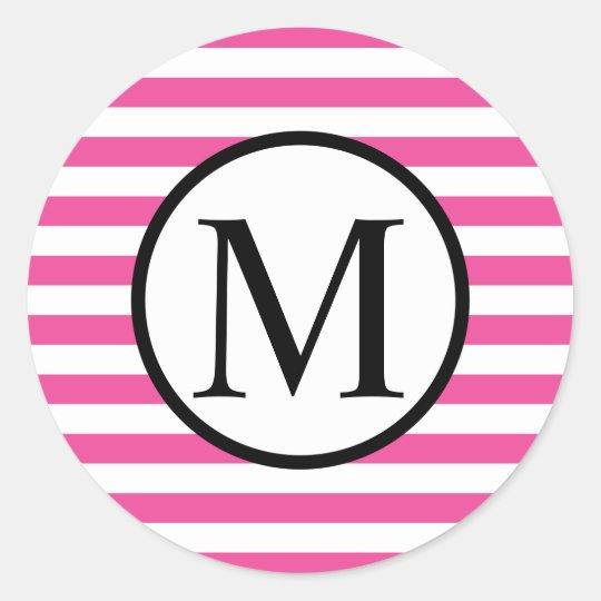 Simple Monogram with Pink Horizontal Stripes Round Sticker