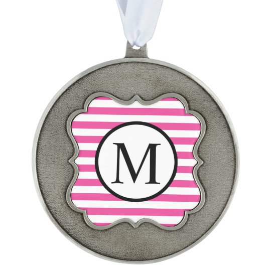 Simple Monogram with Pink Horizontal Stripes Scalloped Pewter Ornament