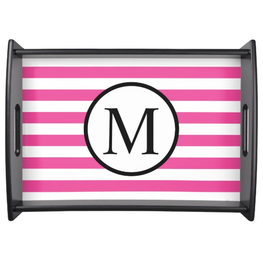 Simple Monogram with Pink Horizontal Stripes Serving Tray