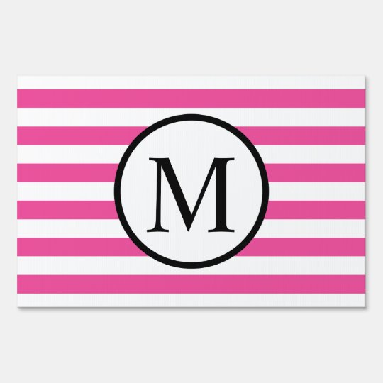 Simple Monogram with Pink Horizontal Stripes Sign