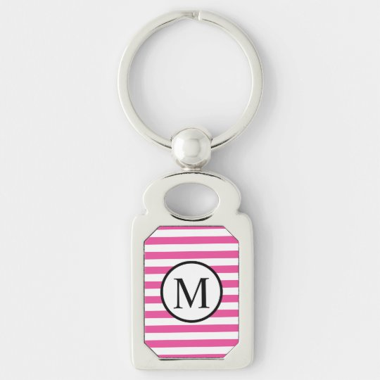 Simple Monogram with Pink Horizontal Stripes Silver-Colored Rectangle Keychain