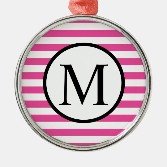 Simple Monogram with Pink Horizontal Stripes Silver-Colored Round Ornament