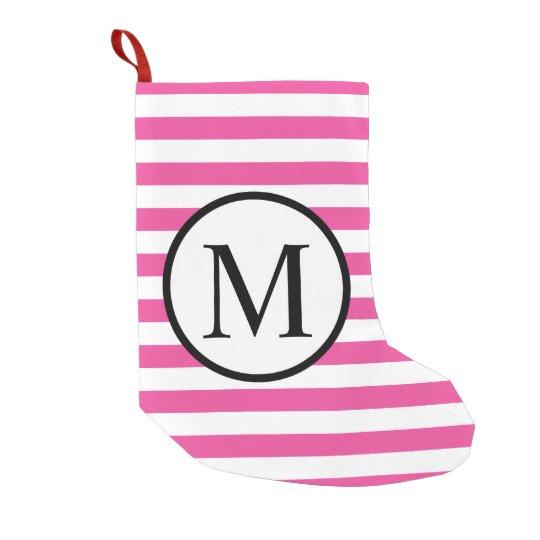 Simple Monogram with Pink Horizontal Stripes Small Christmas Stocking