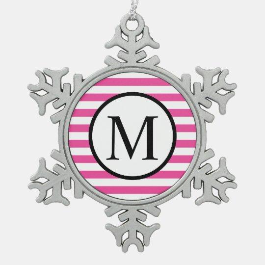 Simple Monogram with Pink Horizontal Stripes Snowflake Pewter Christmas Ornament